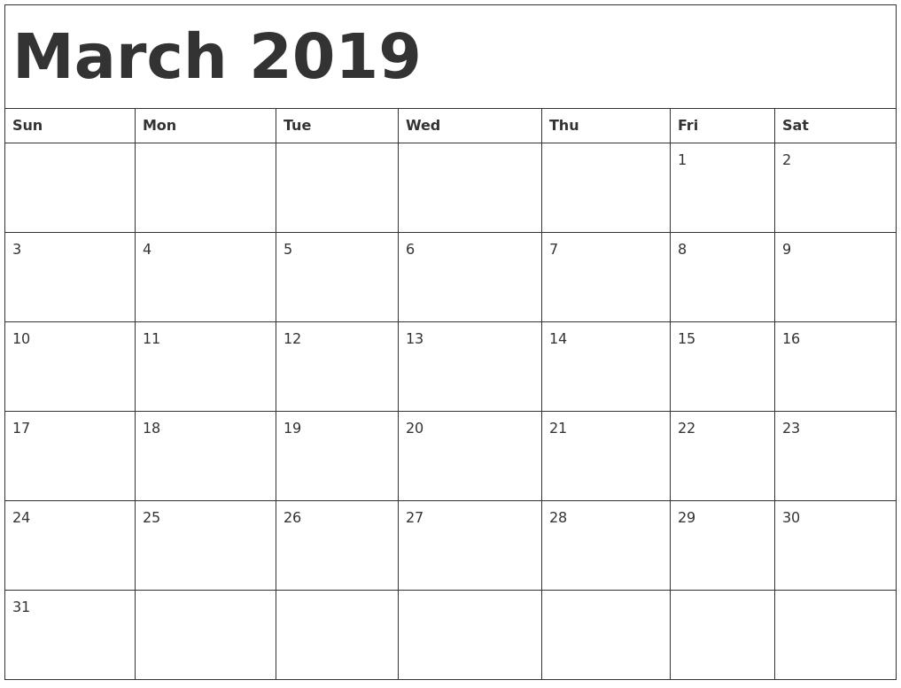 March 2019 Calendar Template Word #march #march2019 Calendar 2019 Template Word