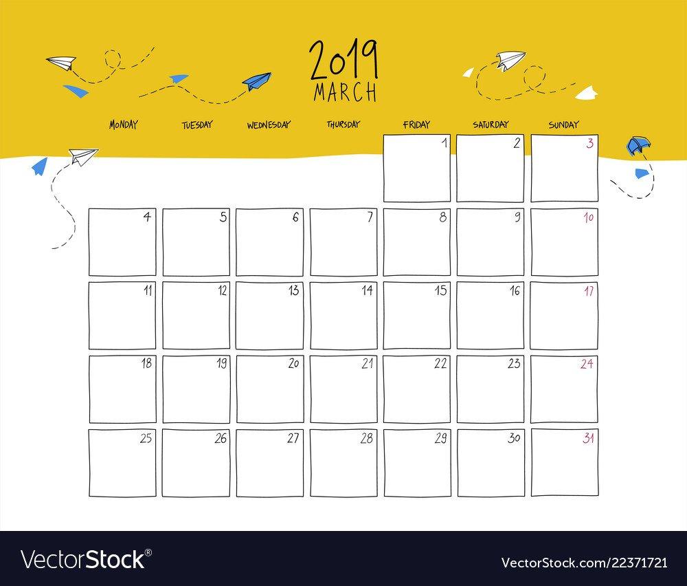 March 2019 Wall Calendar Doodle Style Royalty Free Vector Calendar 2019 Cool