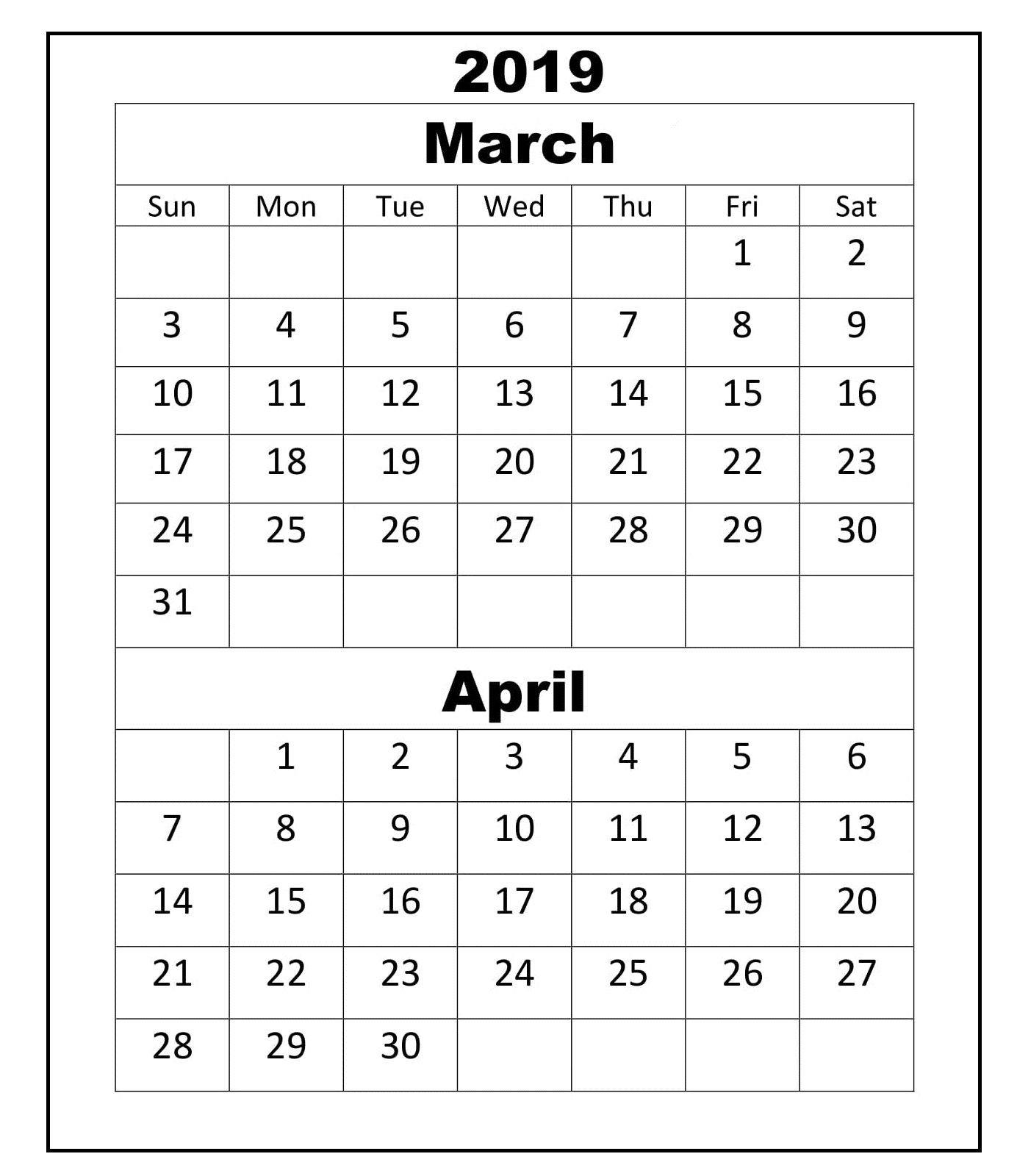 March April 2019 Calendar Academic   March April 2019 Calendar For Calendar 2019 March April