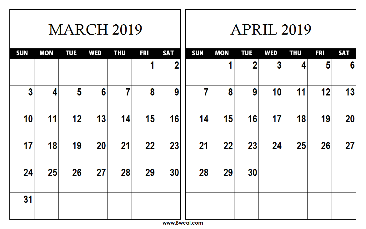 March April 2019 Calendar Template – Printable Calendar 2019  Blank Calendar 2019 March April