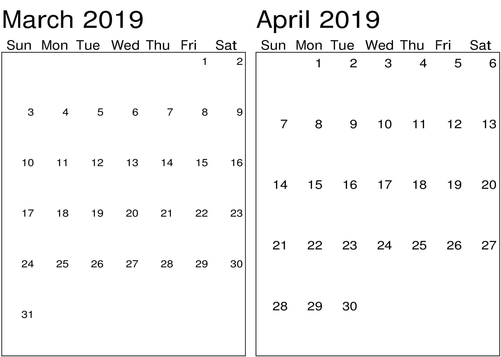 March April 2019 Printable Calendar – Printable Calendar Templates Calendar 2019 March April
