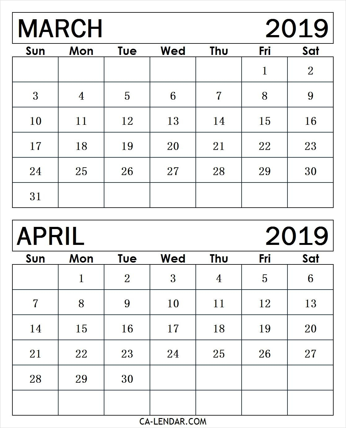 March April Calendar 2019 #march2019Calendar #april2019Calendar Calendar 2019 March April