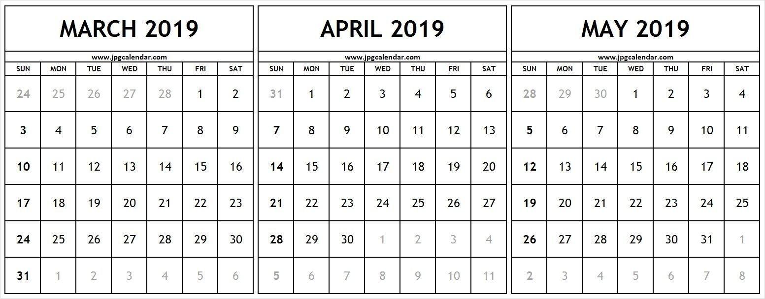 March April May 2019 Calendar #march #april #may #2019Calendar Calendar 2019 March April