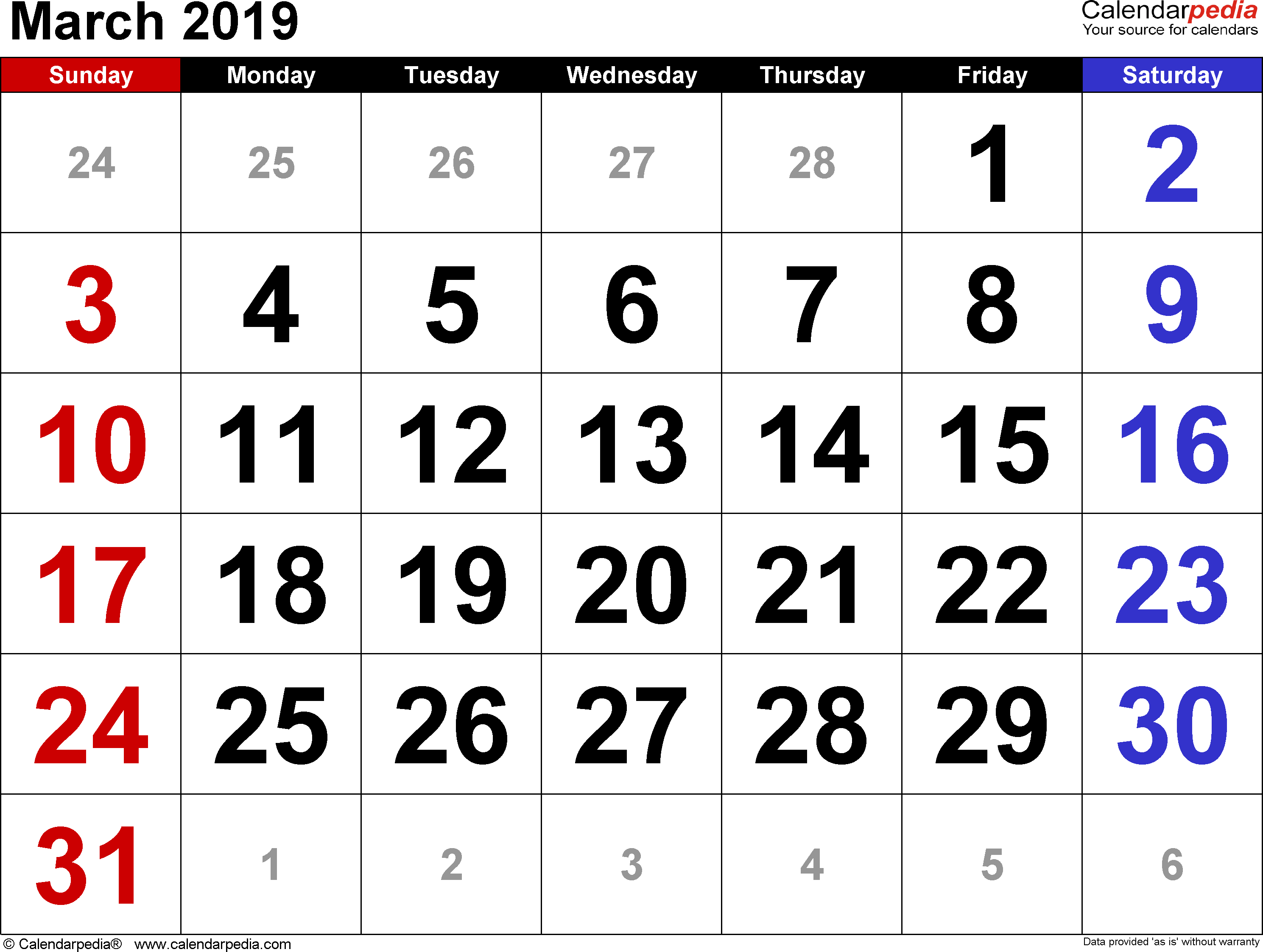 March Calendar 2019 – Printable Calendar 2019  Blank Calendar 2019 March 8 2019 Calendar