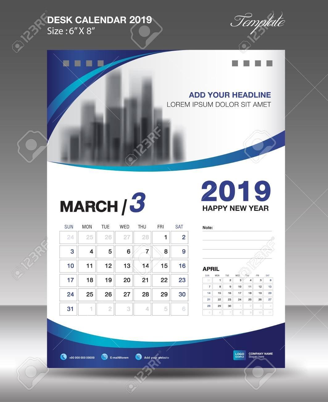 March Desk Calendar 2019 Template Flyer Design Vector Illustration Design A Calendar 2019