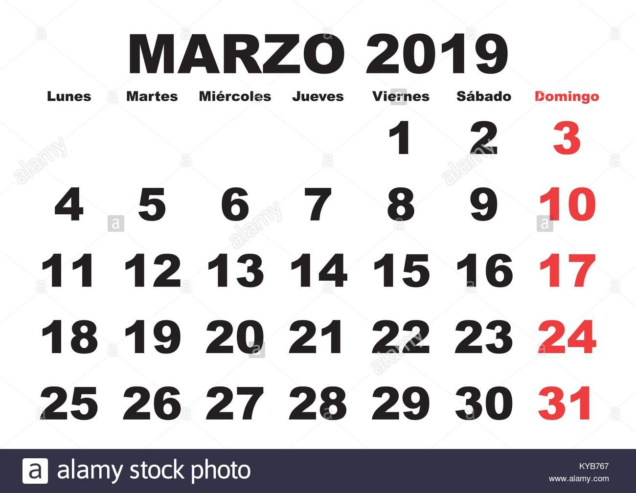 March Month In A Year 2019 Wall Calendar In Spanish. Marzo 2019 March 8 2019 Calendar
