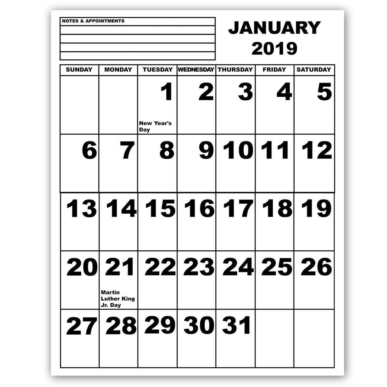 Maxiaids | Jumbo Print Calendar – 2019 Calendar 2019 Large Printable