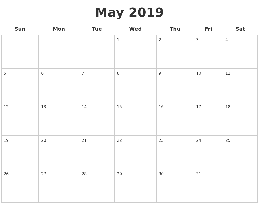 May 2019 Blank Calendar Pages Calendar 2019 Pages