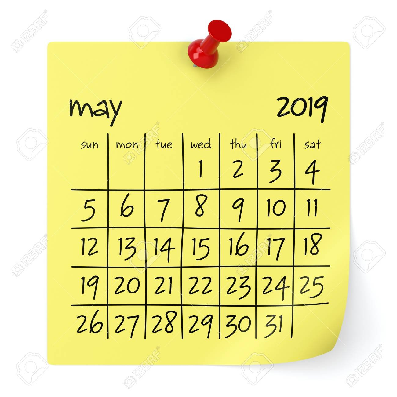 May 2019 Calendar. Isolated On White Background. 3D Illustration May 8 2019 Calendar