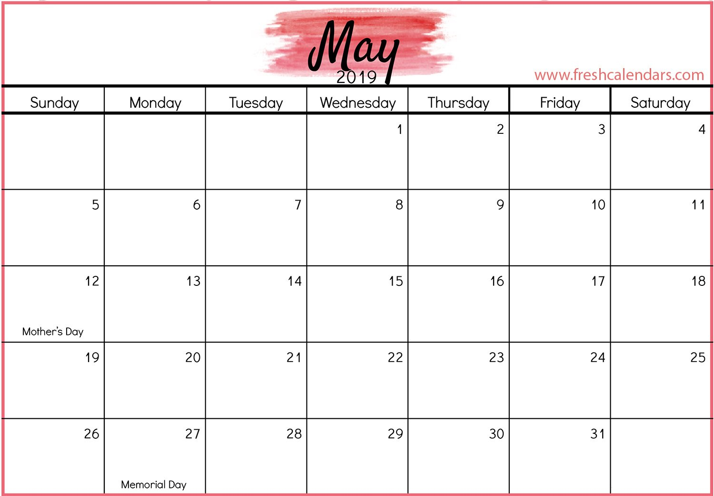 May 2019 Calendar Printable – Fresh Calendars Calendar 2019 Memorial Day