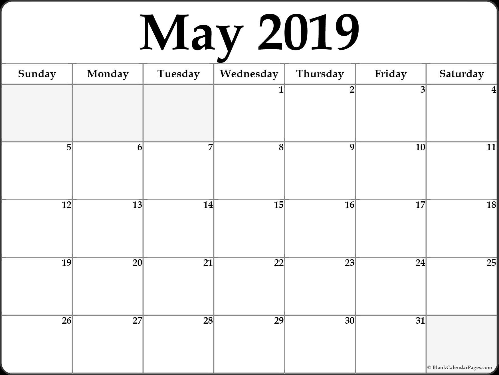 May 2019 Calendar Printable Template Site Provides Calendarmay 2019 Calendar 2019 Blank