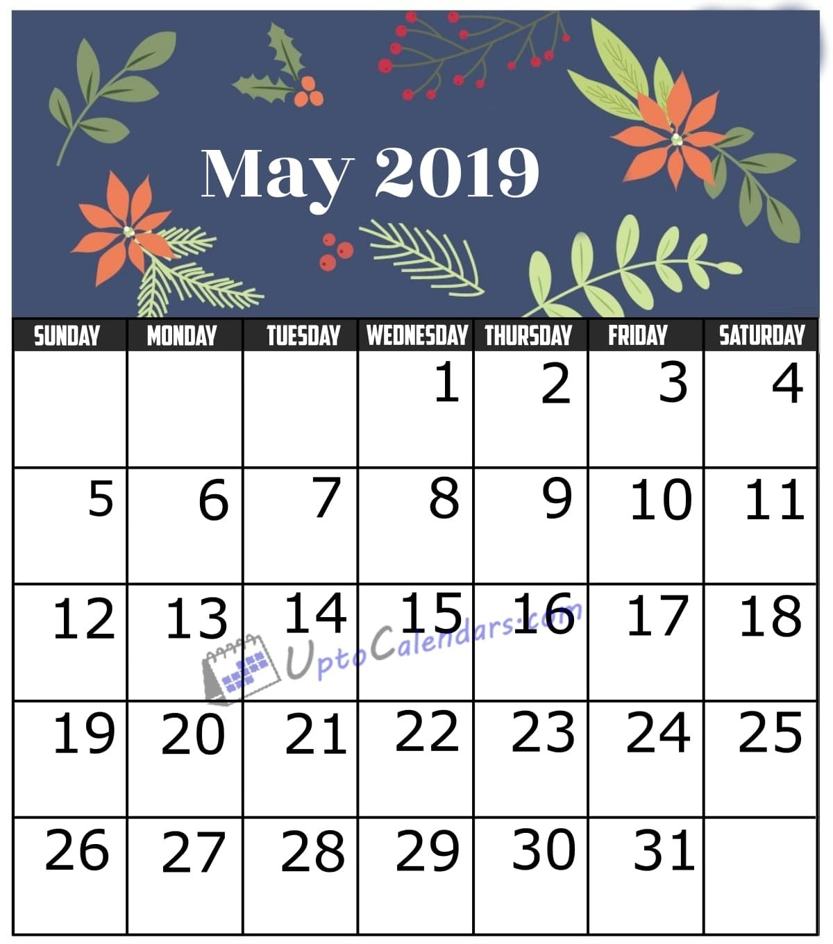 May 2019 Calendar Printable Template With Holidays Pdf Word Excel May 2 2019 Calendar