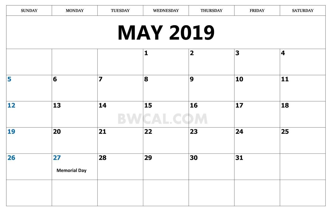 May 2019 Calendar Usa Archives – Blank And White Calendar Calendar 2019 Memorial Day