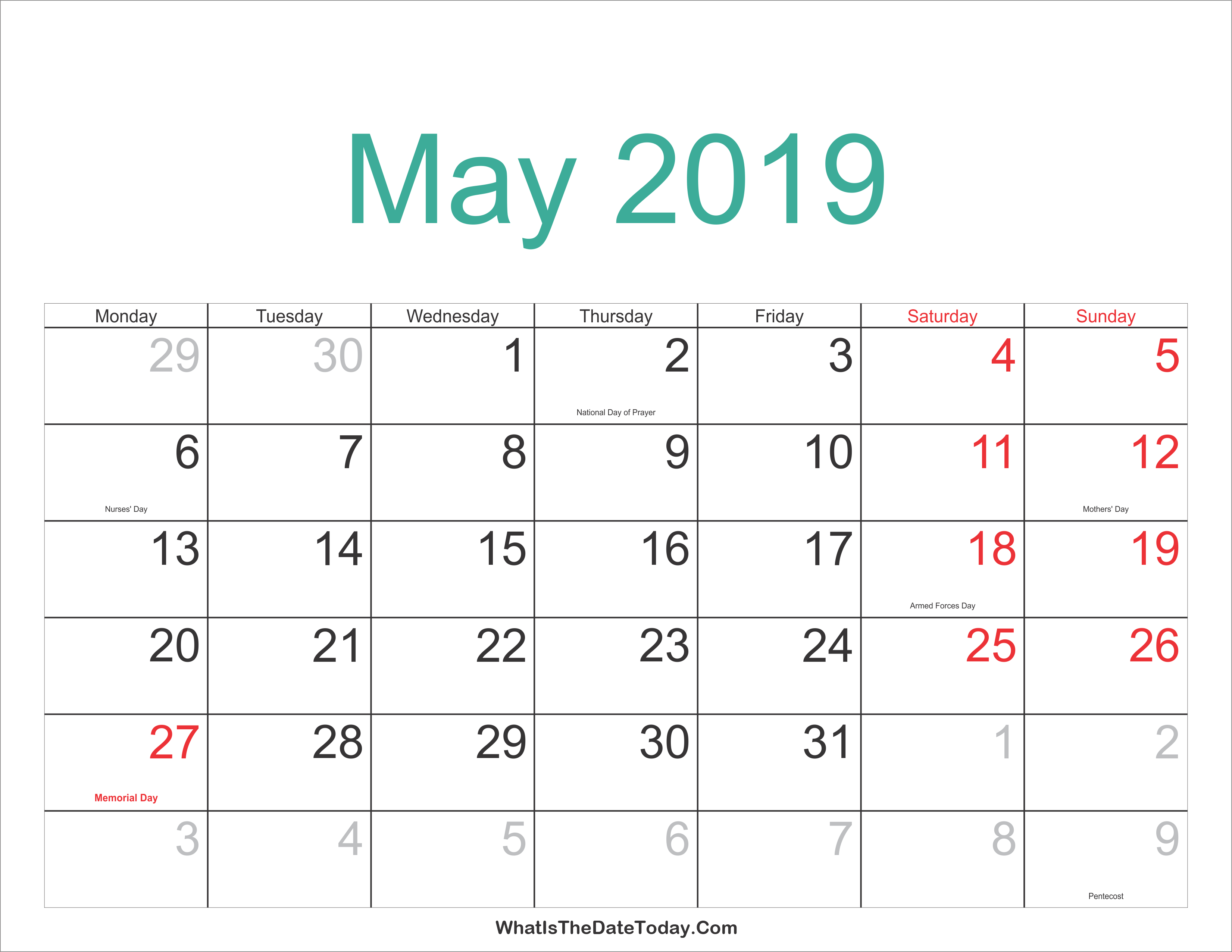 May 2019 Calendar With Holidays - Free Printable Calendar, Templates May 8 2019 Calendar