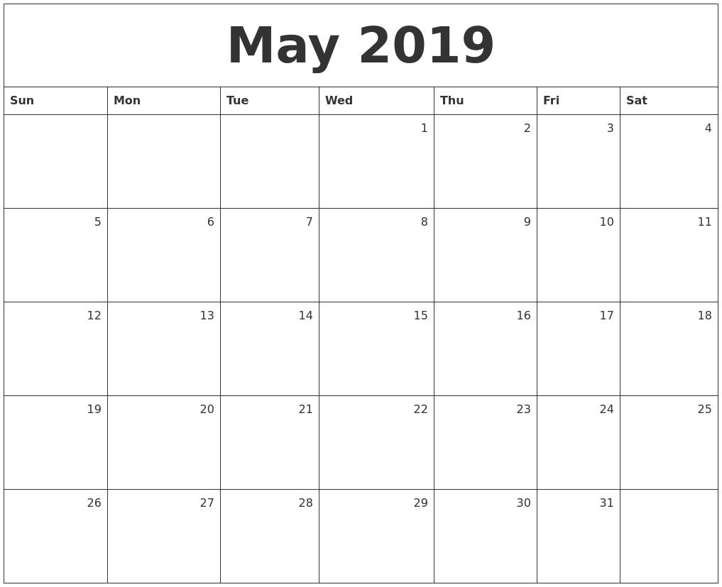 May 2019 Monthly Calendar Calendar 2019 Monthly