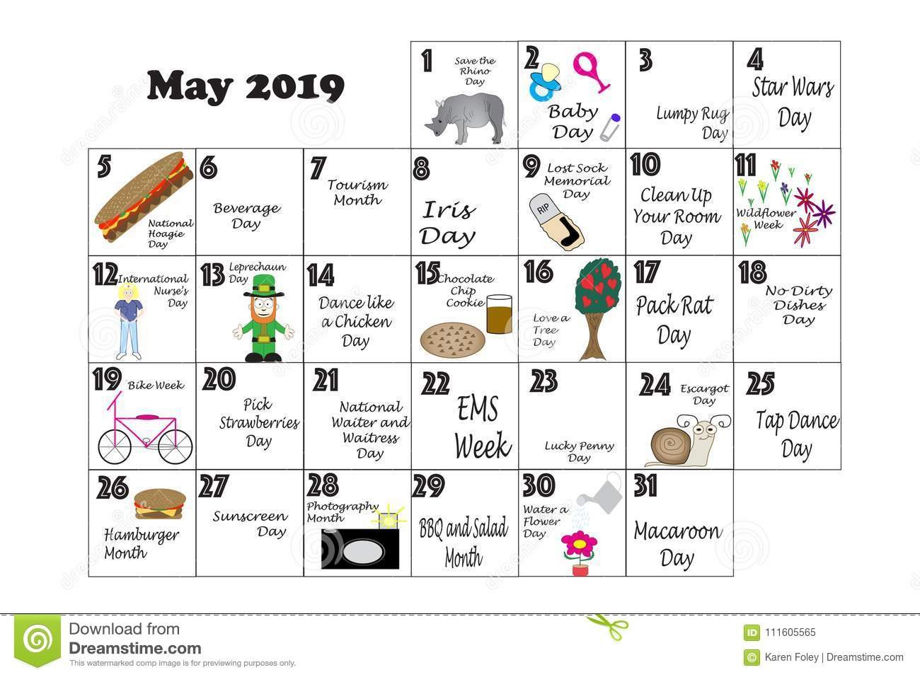 May 2019 Quirky Holidays And Unusual Events Stock Illustration Calendar 2019 Events And Holidays