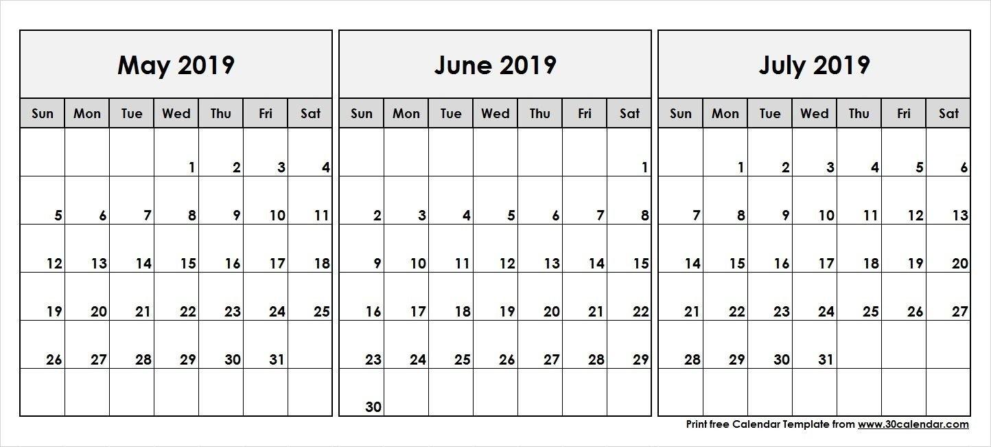 May June July 2019 Calendar | 2019 Calendar In 2019 | Calendar May Calendar 2019 May June July