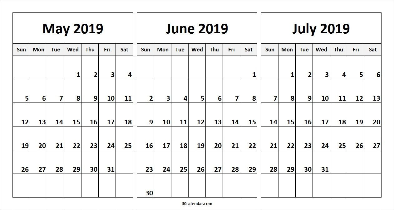 May June July 2019 Calendar Template   2019 Calendars   2019 July 3 2019 Calendar