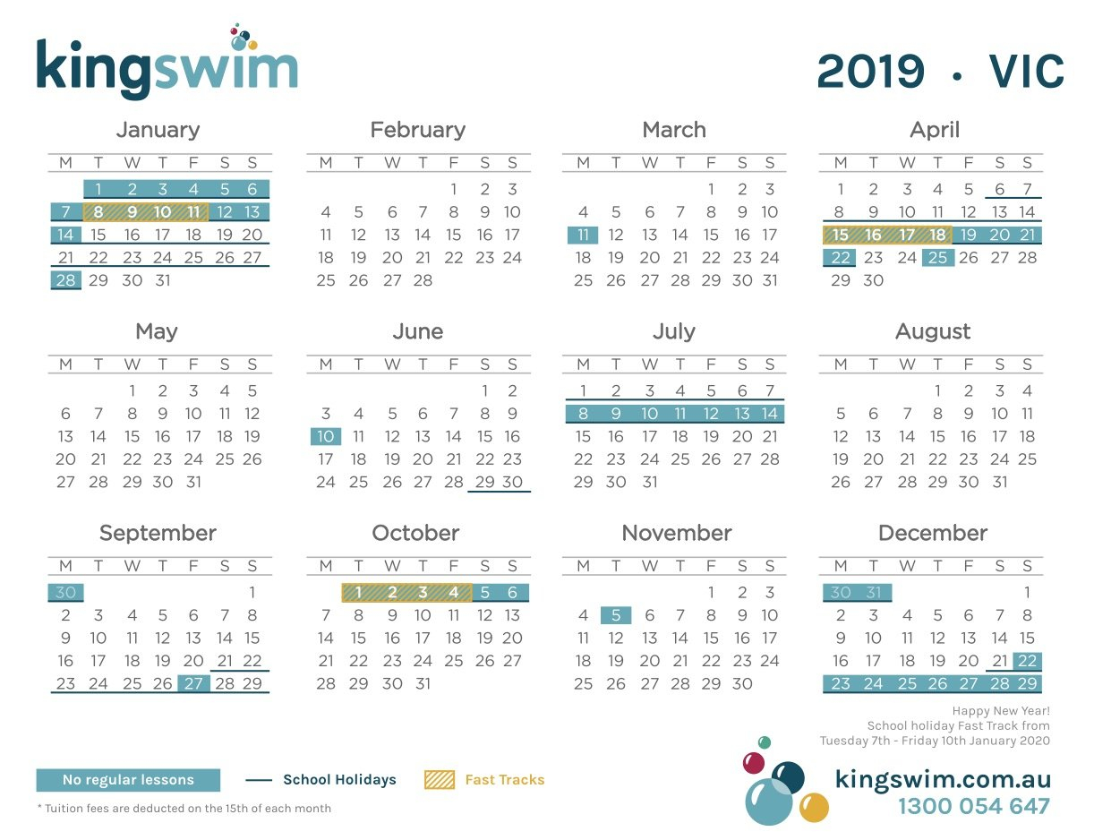 Mernda Swim School | Swimming Lessons At Mernda | Kingswim Calendar 2019 Vic School Holidays