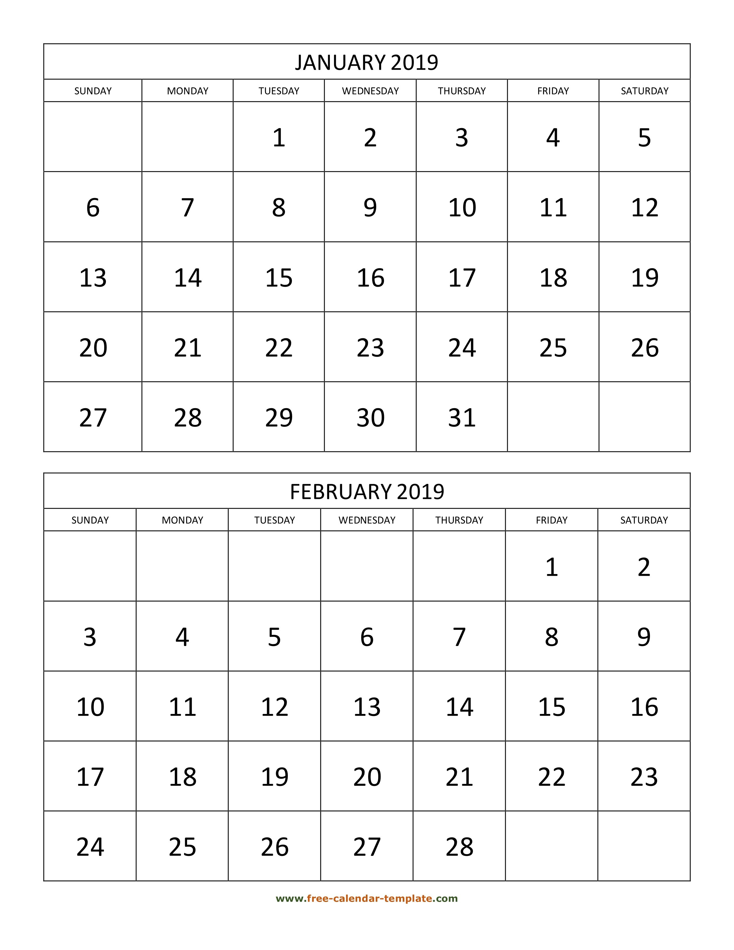 Monthly Calendar 2019, 2 Months Per Page (Vertical)   Free Calendar Calendar 2019 2 Months Per Page