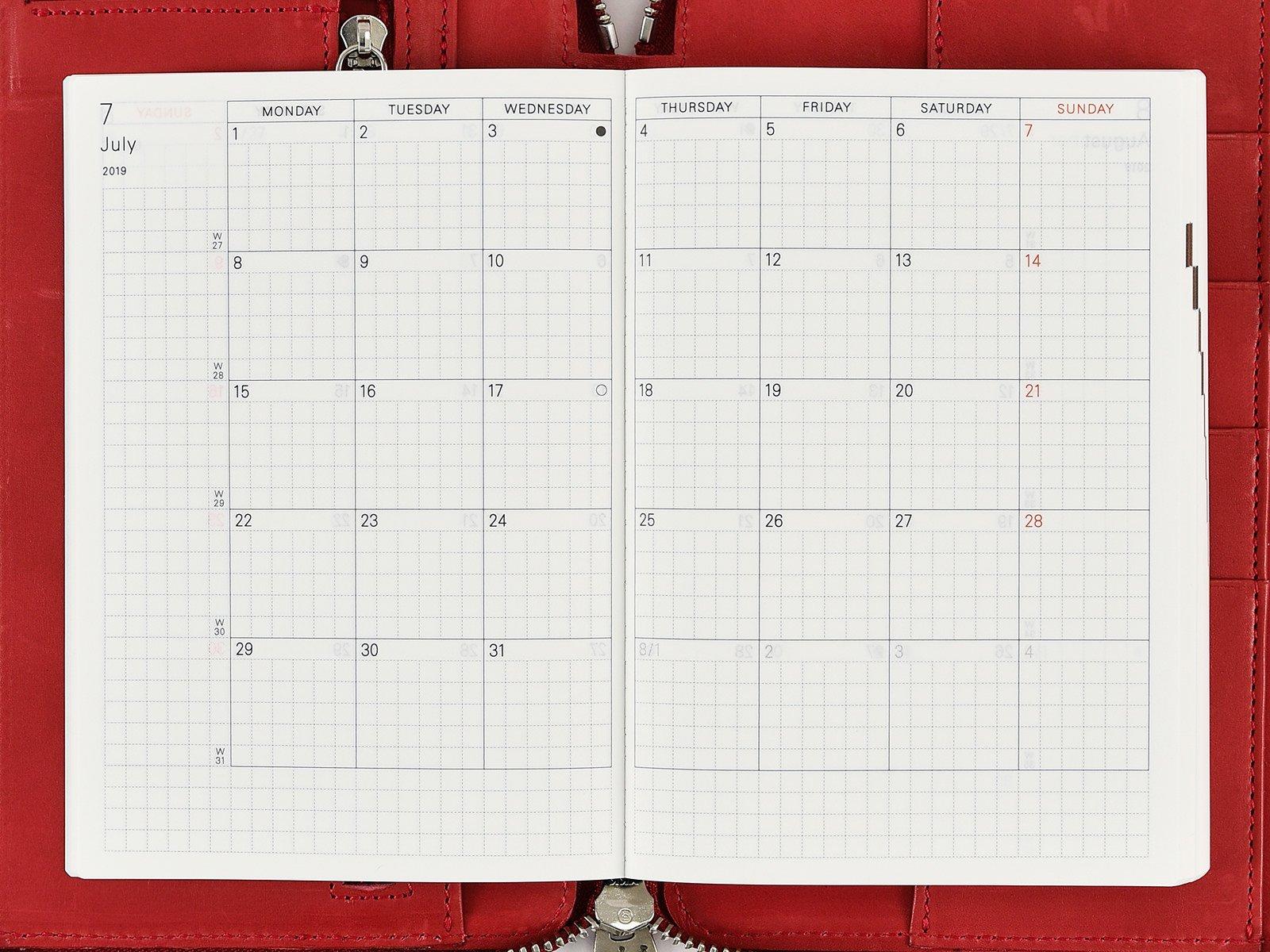 Monthly Calendar – Hobonichi Techo Planner – Book Buying Guide Calendar 2019 Book