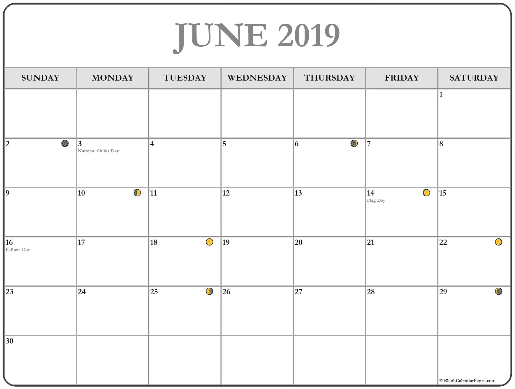 Moon Phases June 2019 Calendar Printable – Free Printable Calendar Calendar 2019 With Moon Phases