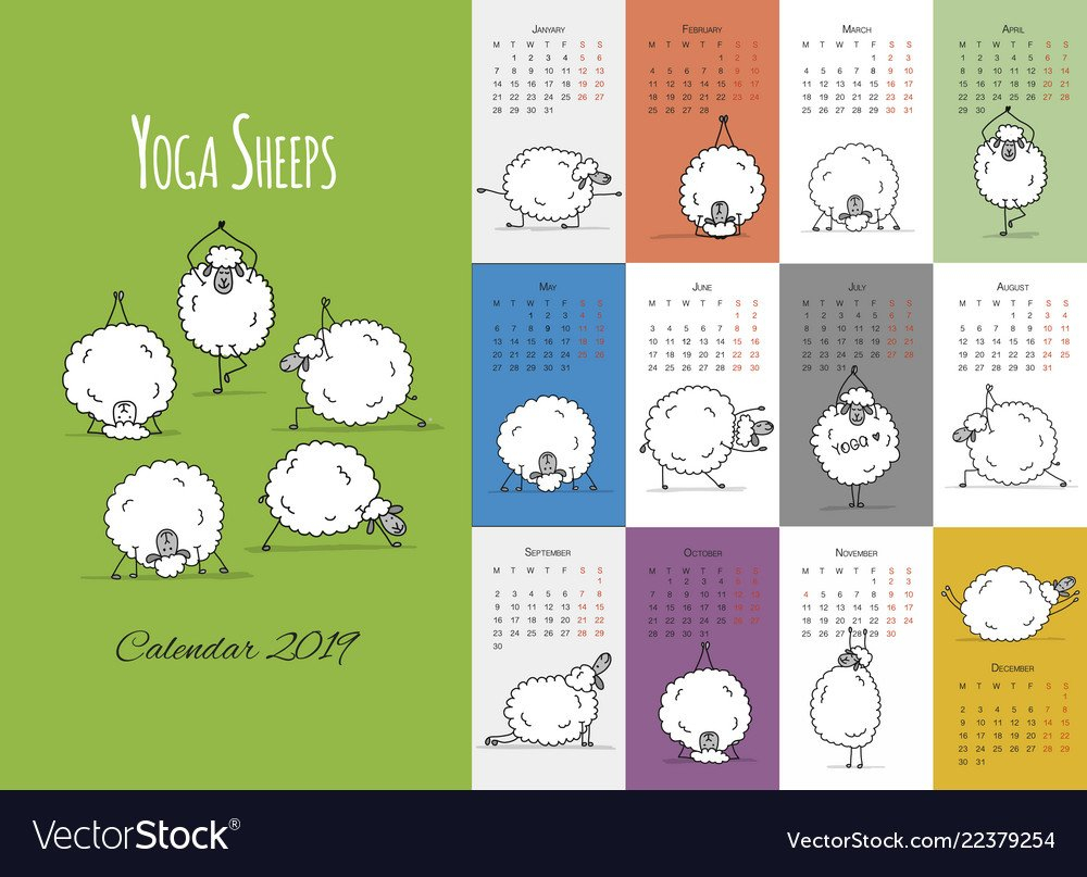Morning Yoga Sheeps Calendar 2019 Design Vector Image Calendar 2019 Yoga