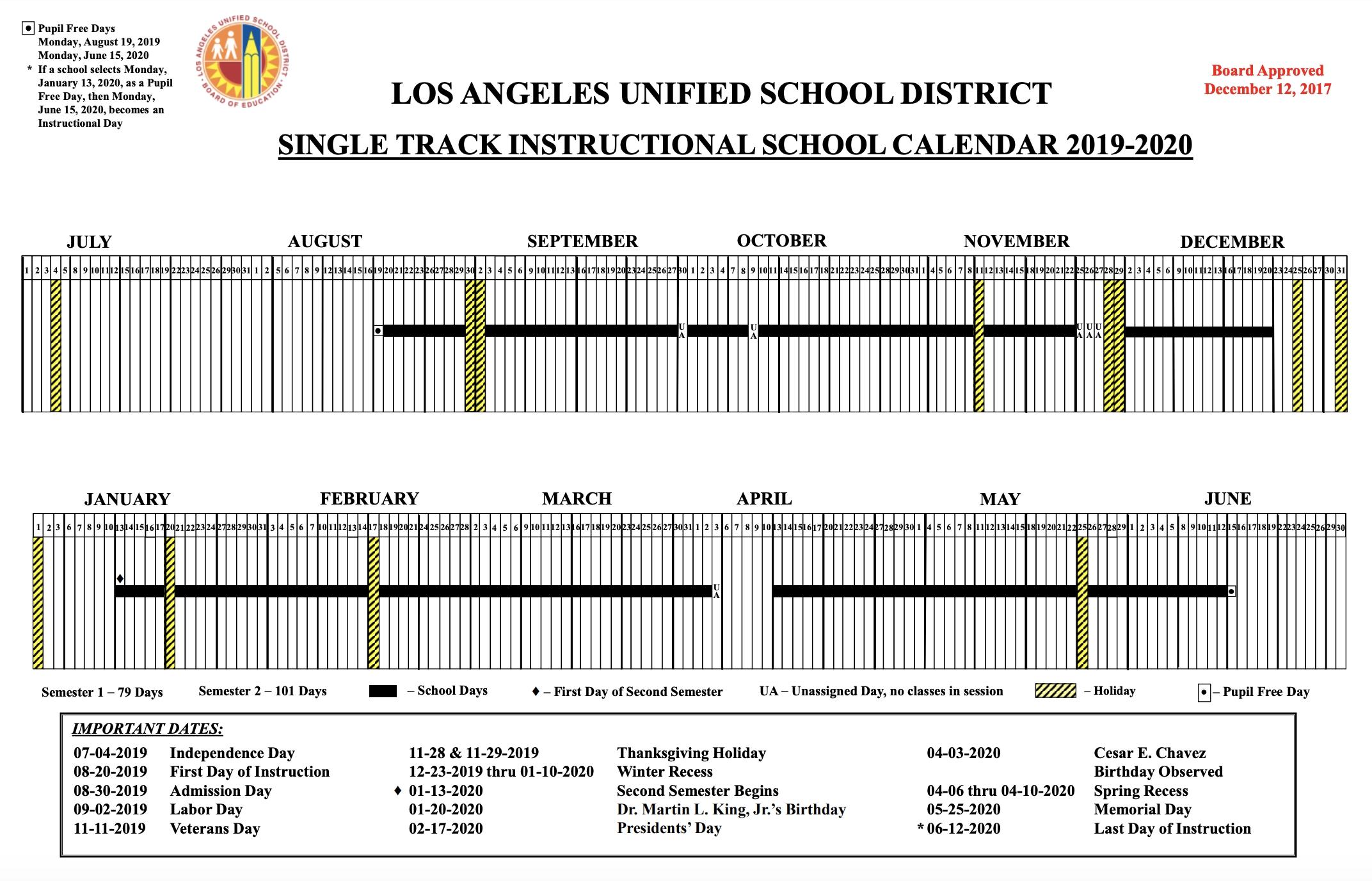 Mr. Mccluskey's Class Lausd 2020 Calendar – Get Your Calendar Printable Lausd Calendar 2019 20