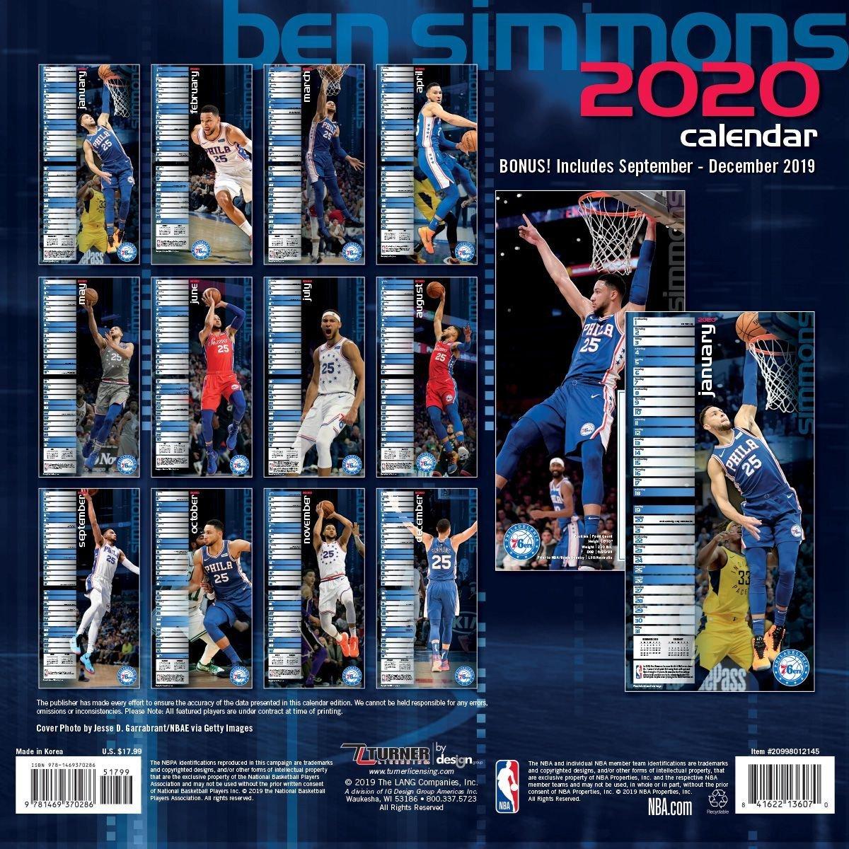 Nba Ben Simmons Phil 76Ers 76Ers Calendar 2019