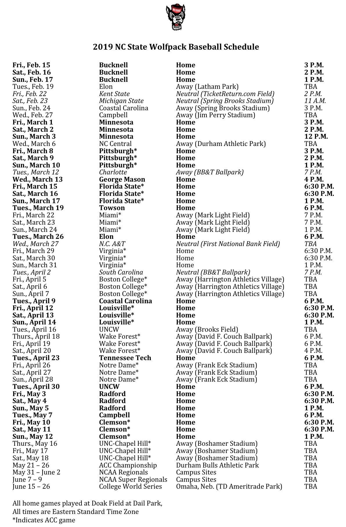 Nc State Releases 2019 Baseball Schedule – Pack Insider Calendar 2019 Ncsu