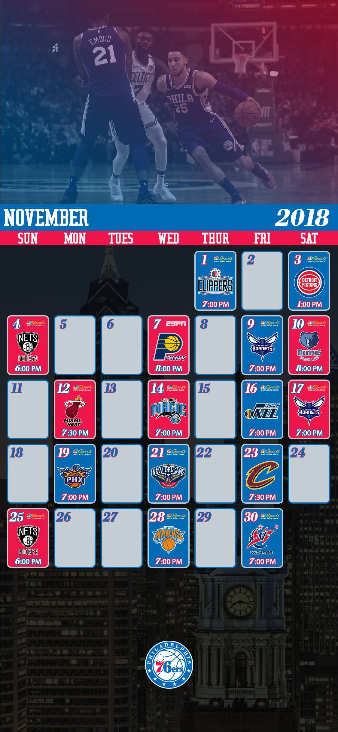 November Sixers Schedule Lock Screen Wallpaper : Sixers 76Ers Calendar 2019