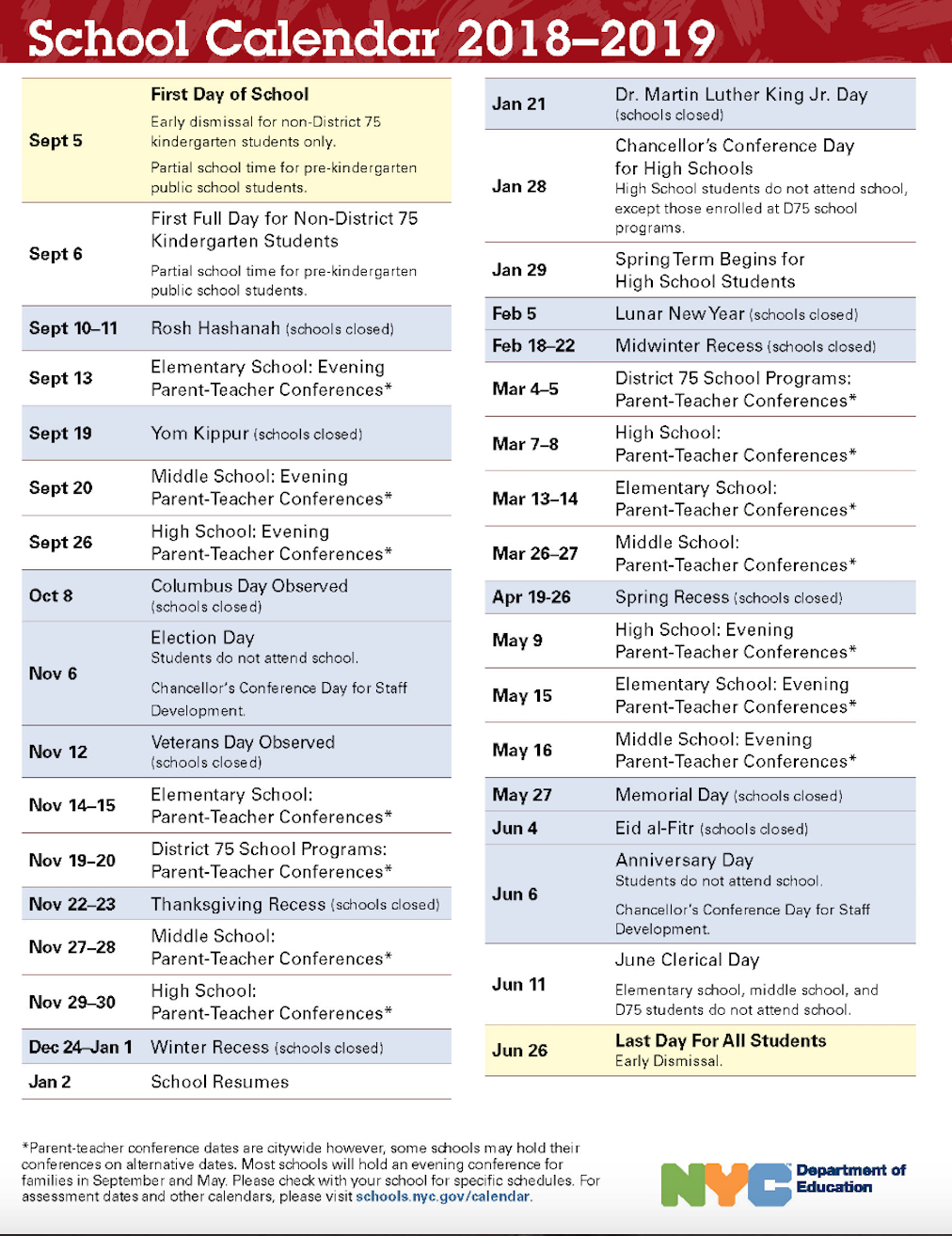 Nyc Doe 2018-2019 School Calendar | Ps 373R Robert Randall School Calendar 2019 Doe