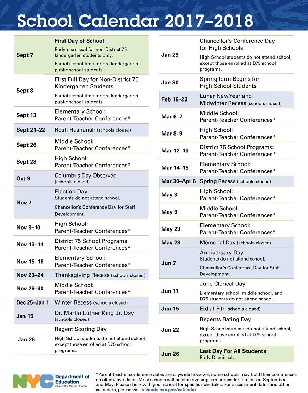 Nyc Doe Calendar 2018 2019 (1) | Download 2019 Calendar Printable Calendar 2019 Nyc