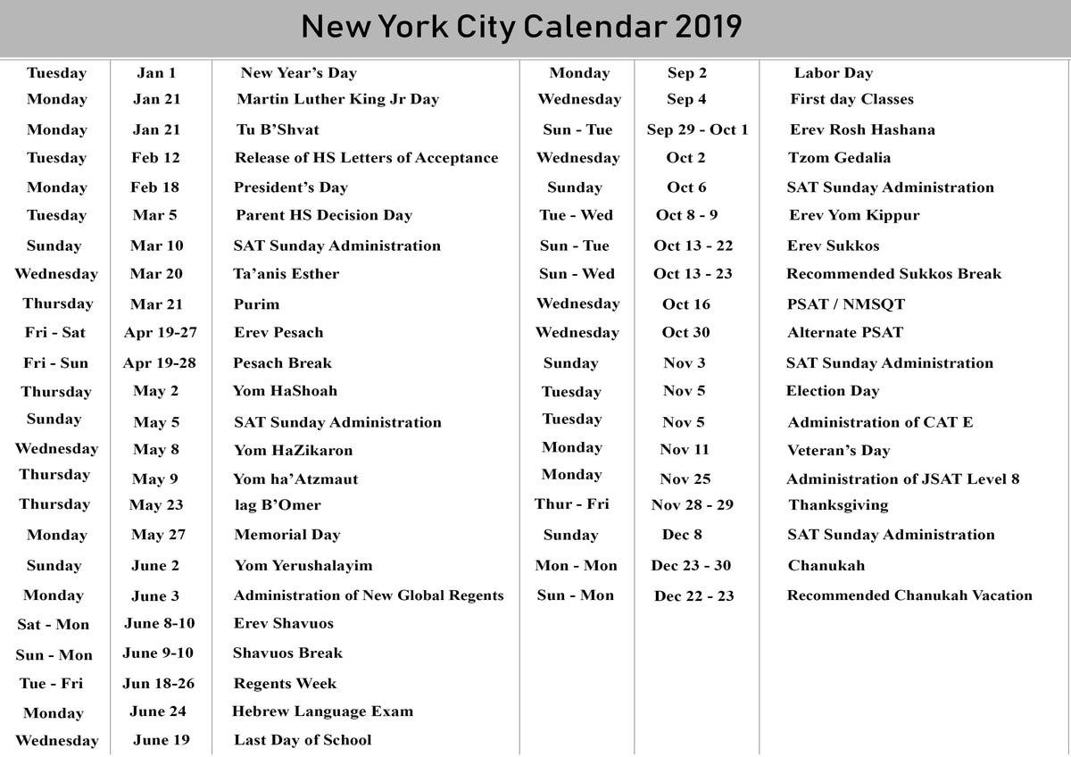 Nyc School Holidays Calendar 2019 – 2020 | Nyc School Calendar Calendar 2019 Nyc