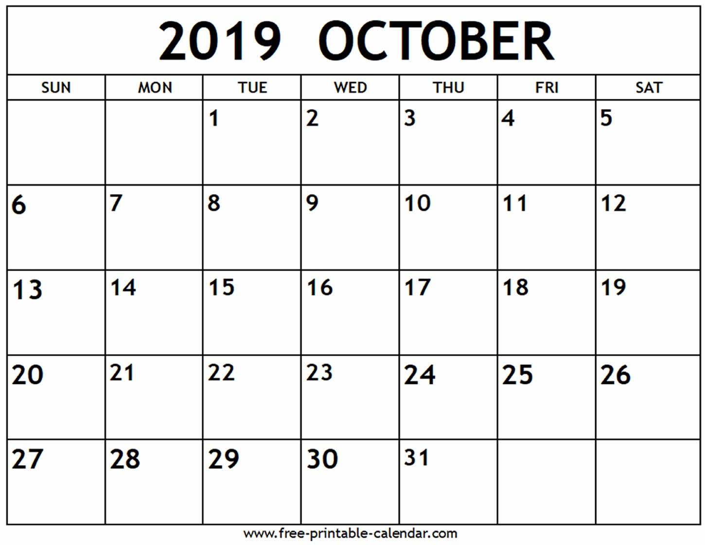 October 2019 Calendar – Free Printable Calendar Calendar 0Ct 2019