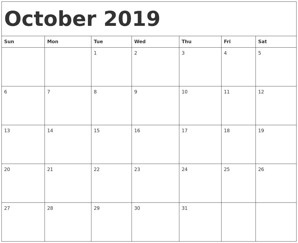 October 2019 Calendar Template Calendar 0Ct 2019