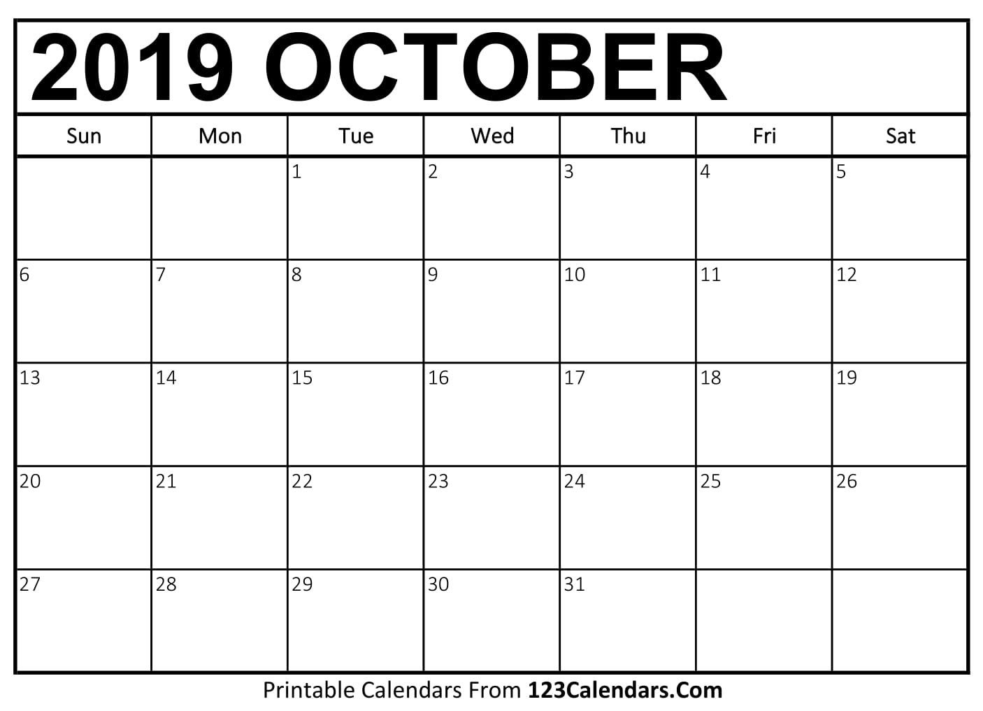 October 2019 Printable Calendar | 123Calendars January 2019 Calendar 123Calendars
