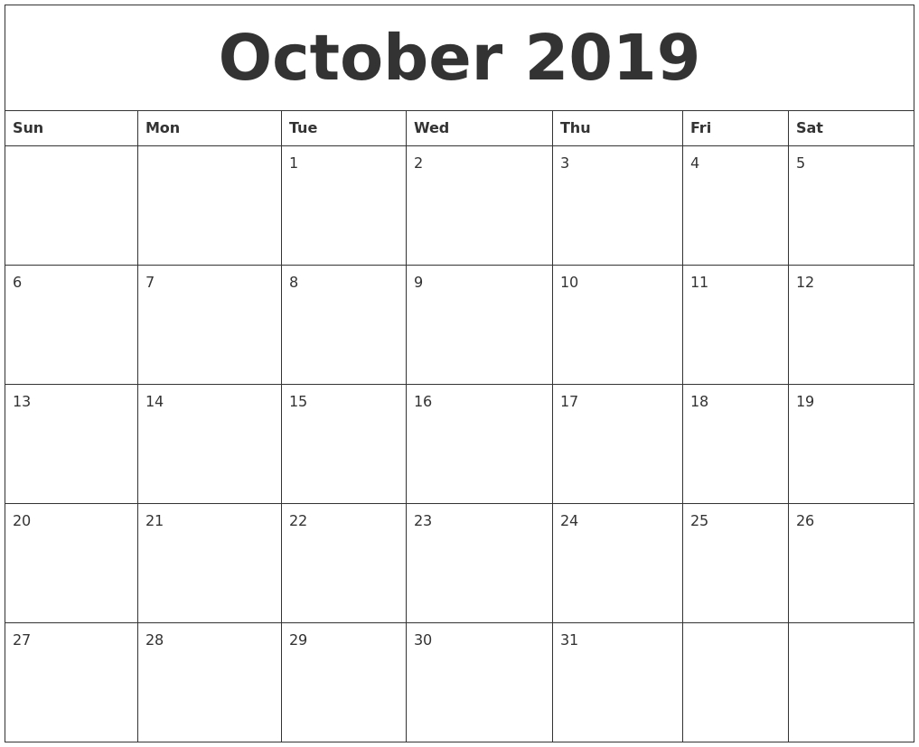 October 2019 Word Calendar Calendar 2019 Word