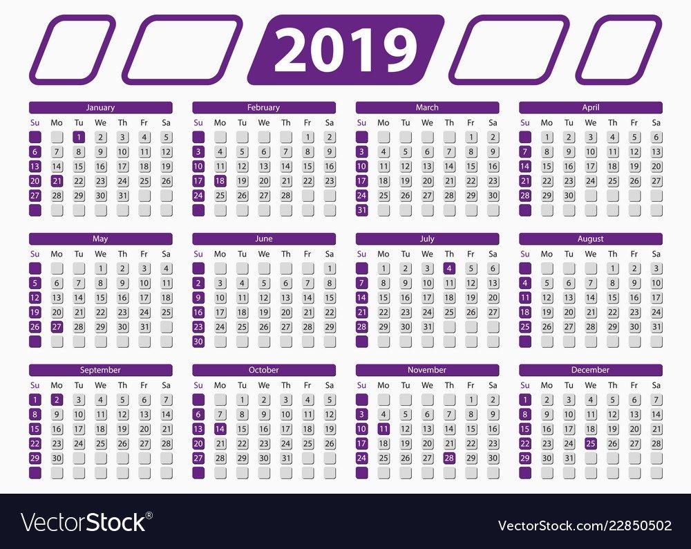 Official, Calendar & 2019 Vector Images (12) 5 X 7 2019 Calendar