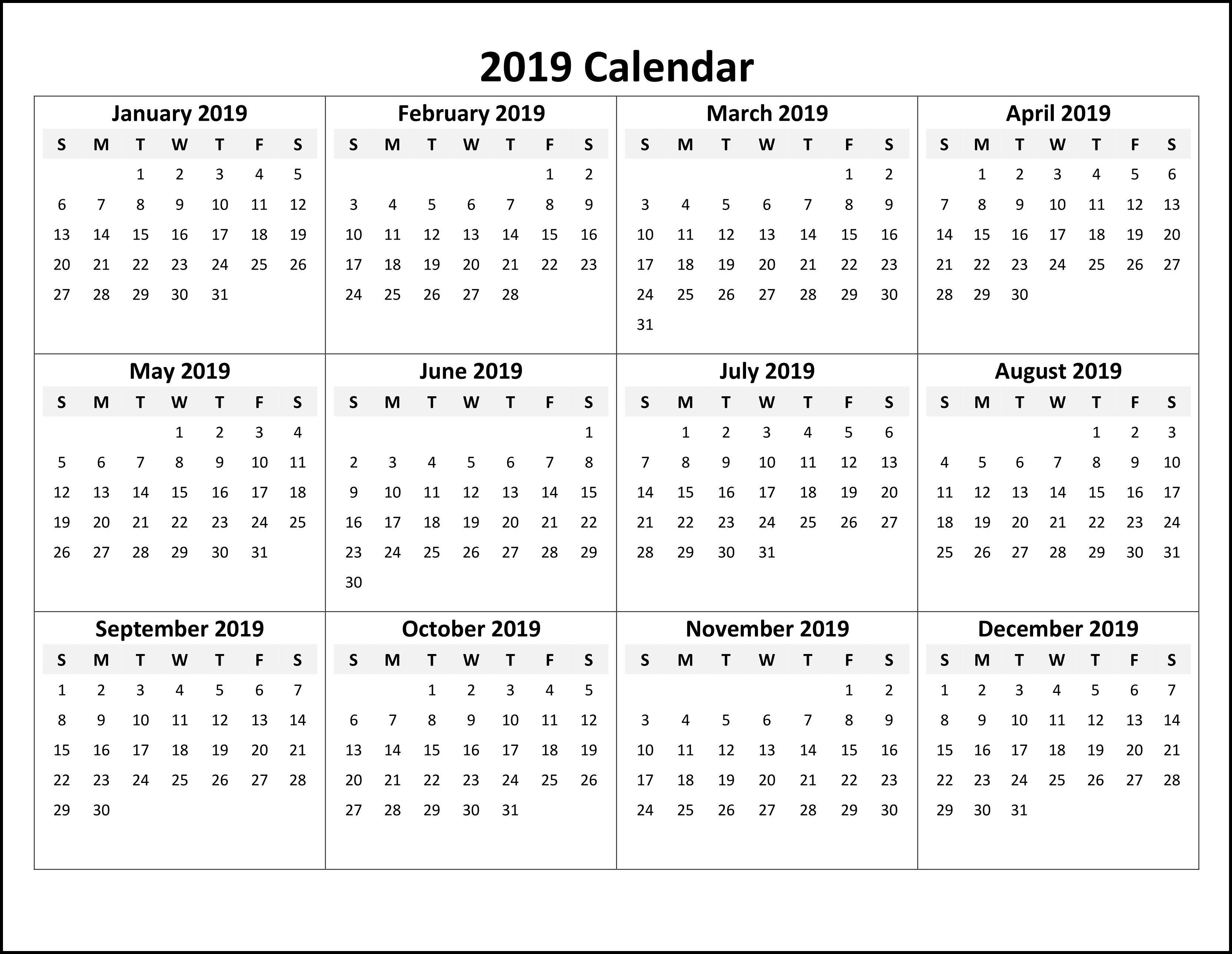 Online Printable Calendar 2019 #calendar2019 #printablecalendar2019 Calendar 2019 Online