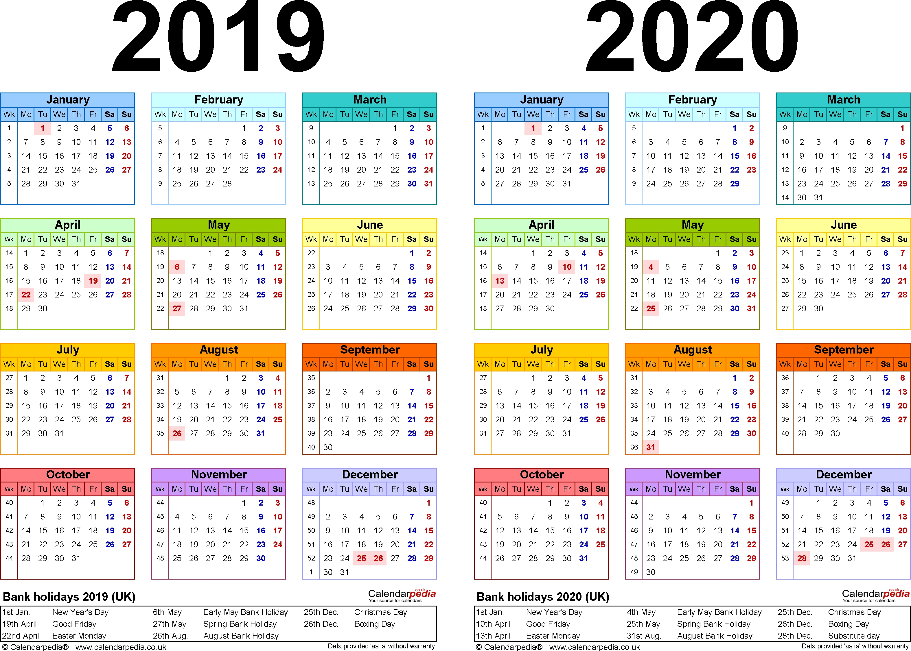 Perky 2 Year Pocket Calendar 2019 And 2020 • Printable Blank 2 Year Pocket Calendar 2019 And 2020