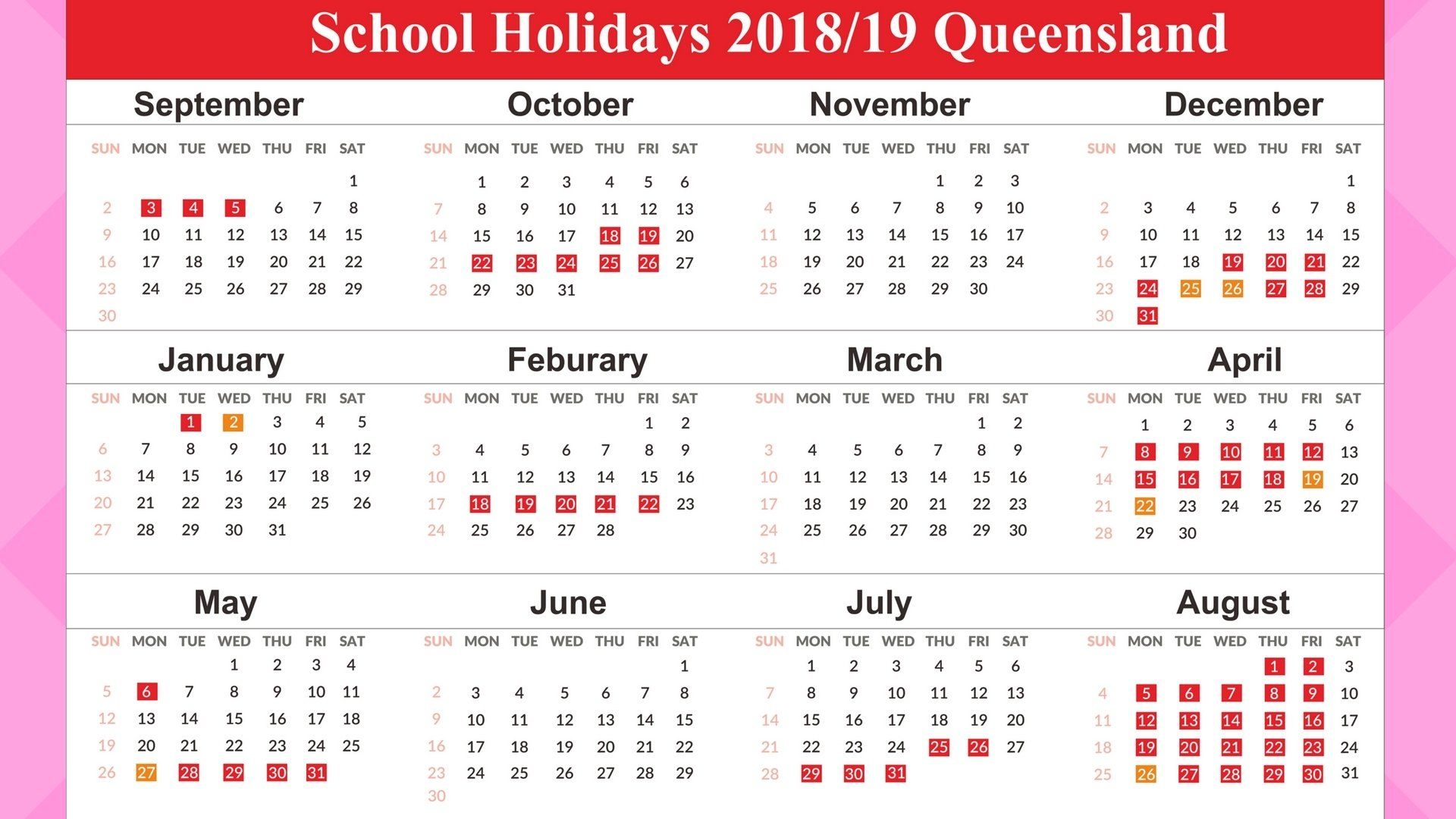 Perky School Calendar 2019 Qld • Printable Blank Calendar Template 2019 Calendar Queensland State Schools
