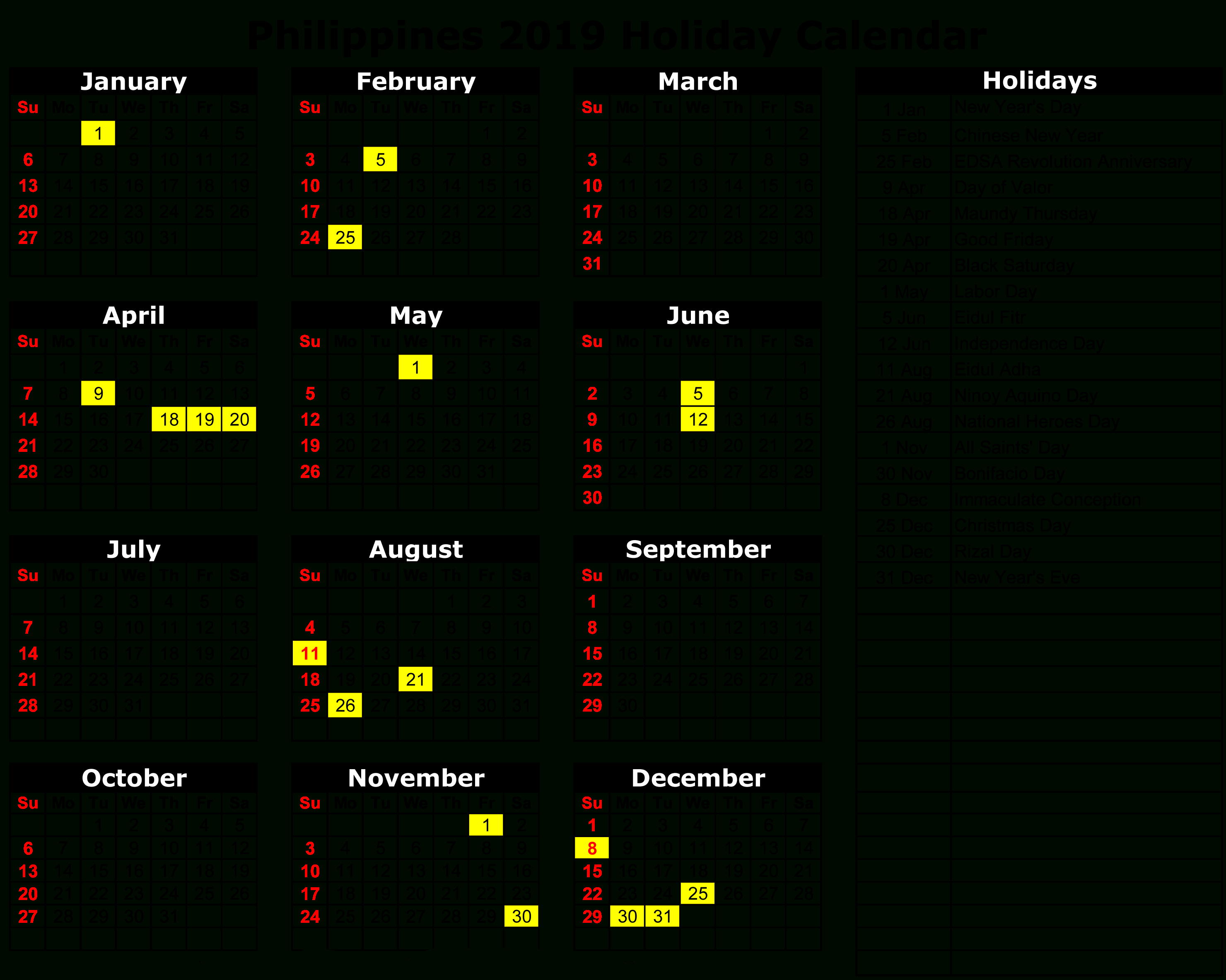 Philippines 2019 Holiday Calendar | Calendar 2019 | Holiday Calendar Calendar 2019 Events And Holidays