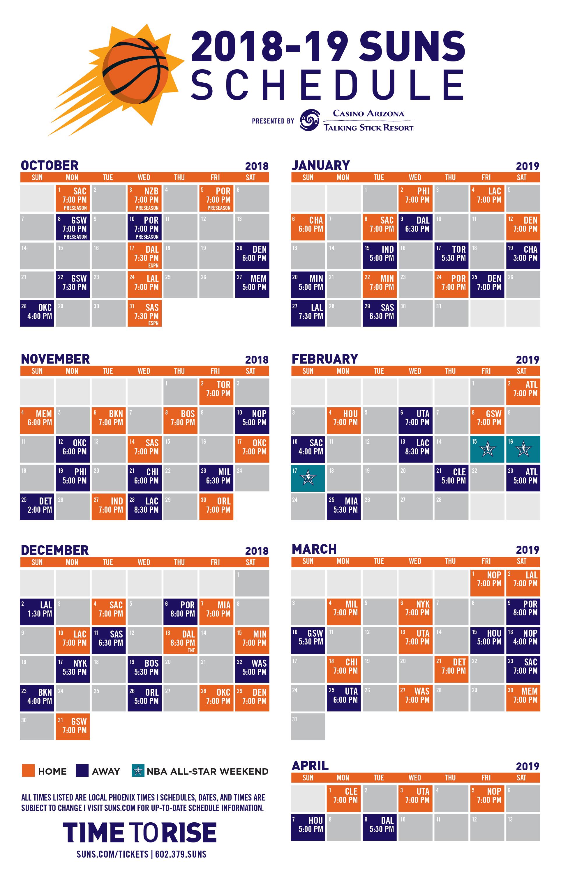 Phoenix Suns Announce 2018 19 Nba Season Schedule   Phoenix Suns 76Ers Calendar 2019