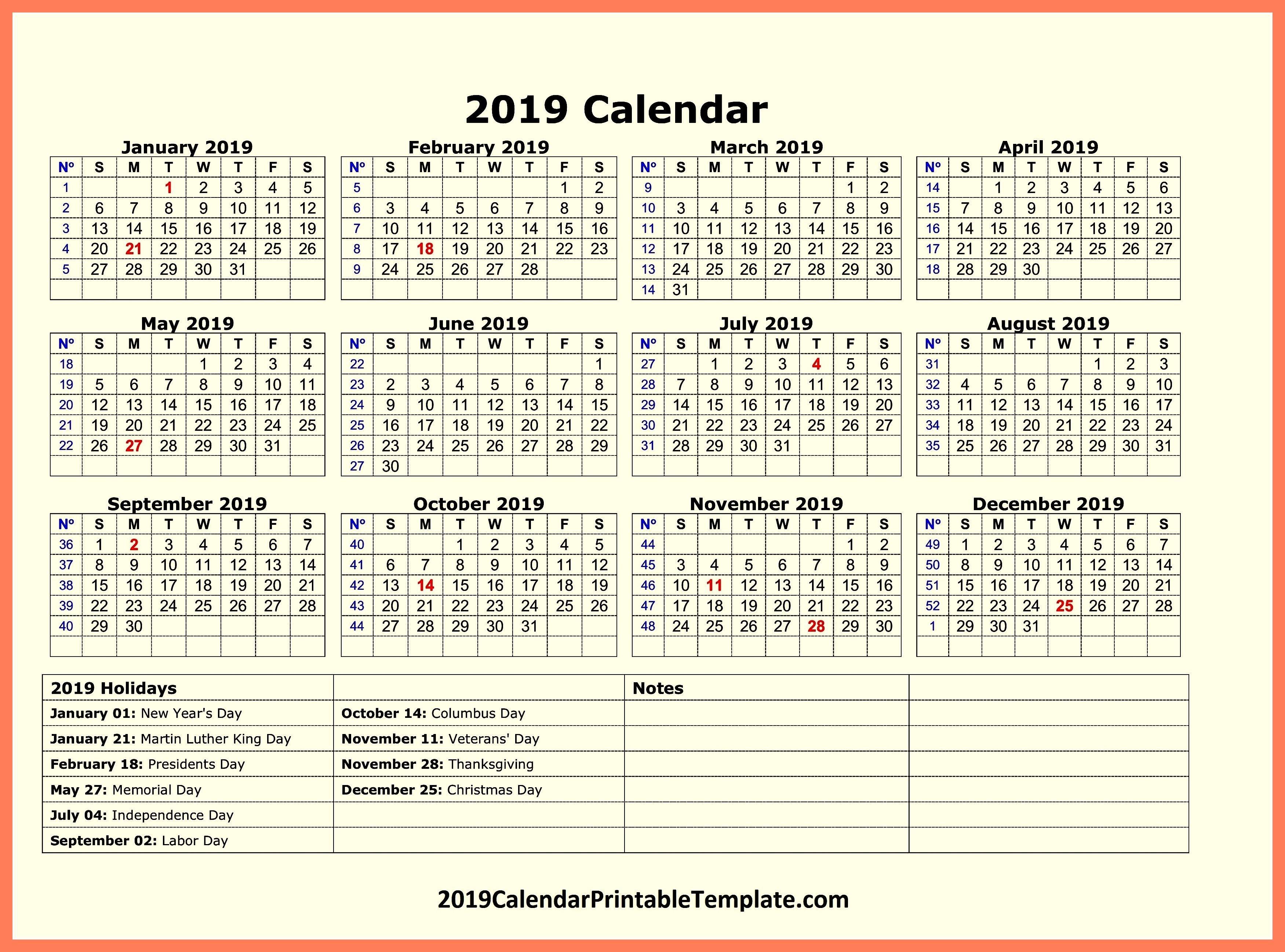 Pin2019Calendarprintabletemplate On 2019 Calendar Holidays In Calendar 2019 Government Holidays