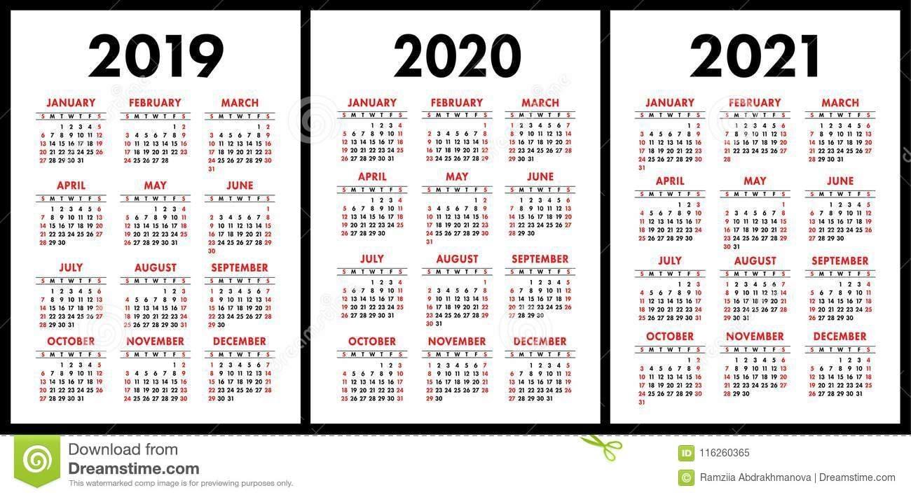 Pocket Calendar 2019, 2020, 2021 Set. Basic Simple Template. Wee 2 Year Pocket Calendar 2019 And 2020