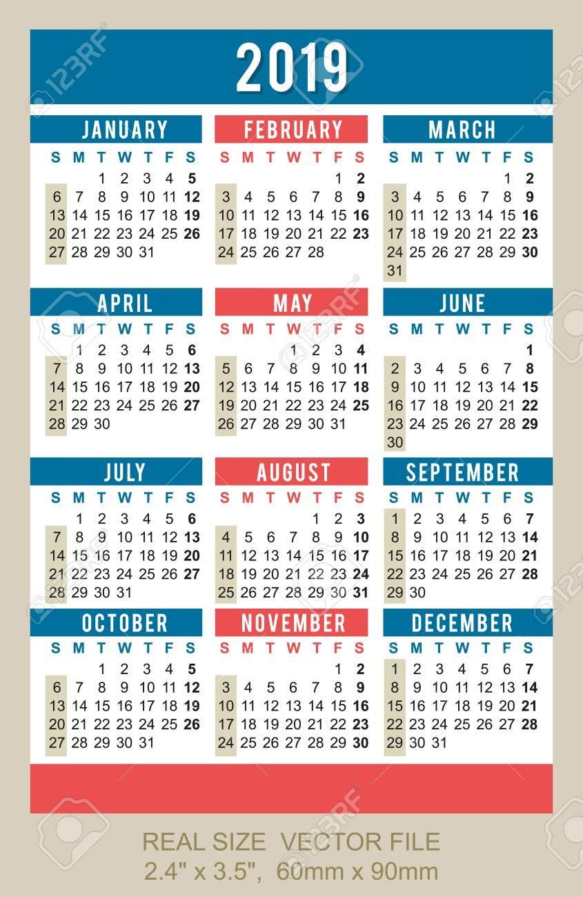 "Pocket Calendar 2019, Start On Sunday Size: 2.4"" X 3.5"", 60Mm Calendar X 2019"