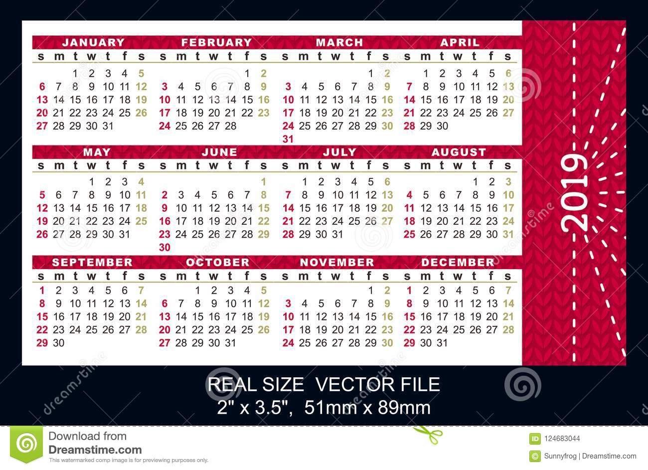 Pocket Calendar 2019, Start On Sunday, Vector Stock Vector X Calendar 2019 Download