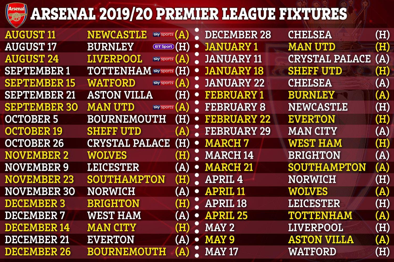 Premier League 2019/20 Fixtures: Chelsea, Arsenal, Man Utd Plus Man U Calendar 2019