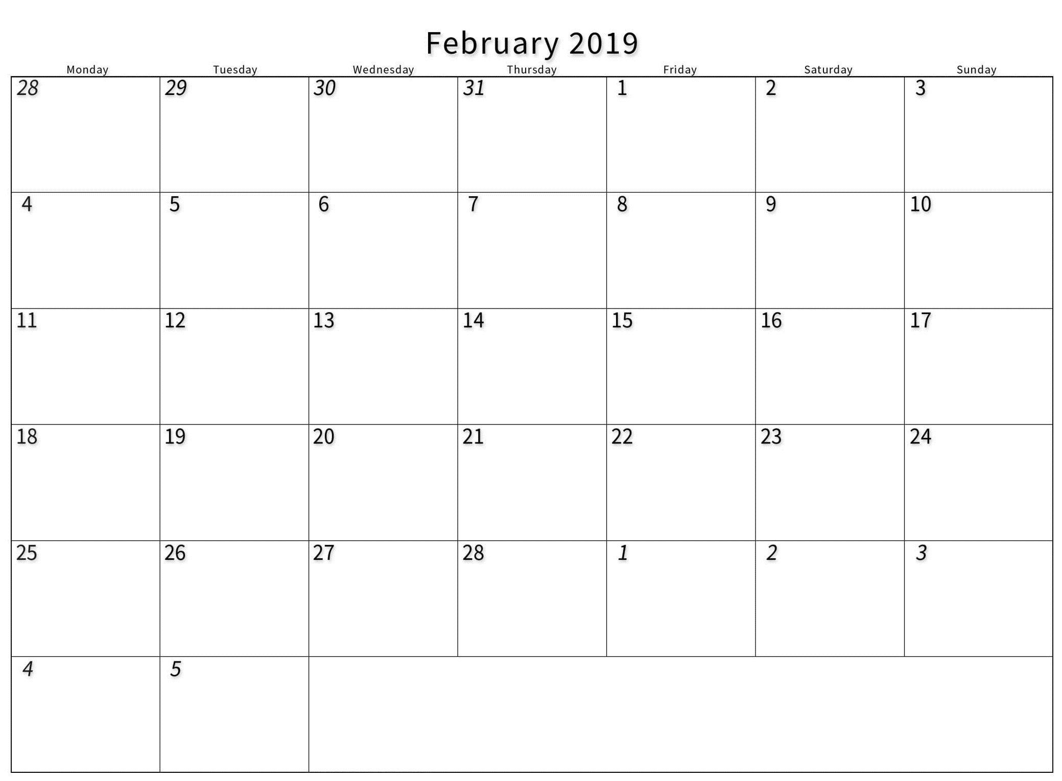 Print A Calendar February 2019 – 2019 Printable Calendar Store Print A Calendar 2019